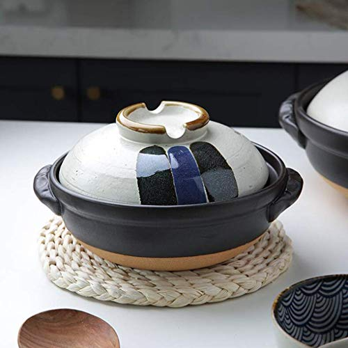 Japanese Colorful Donabe Ceramic Hot Pot,Heat Resistant Casserole With Lid,Small Round Earthenware Clay Pot,Rice Cooker For Stew Soup Noodles A 1.8l
