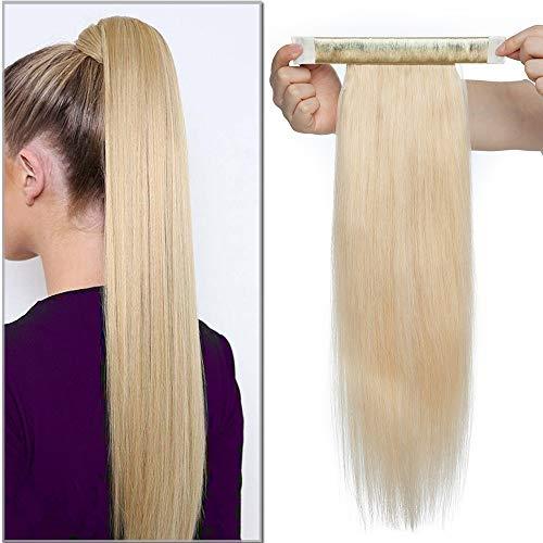 SEGO Haarteil Zopf Pferdeschwanz Echthaar Clip in Ponytail Extension Haarverlängerung Hair Piece glatt Hellblond#613 Hellblond#613 18