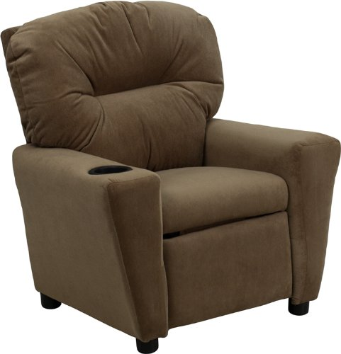 Flash Furniture Contemporary Brown Microfiber Kids Recliner with Cup...