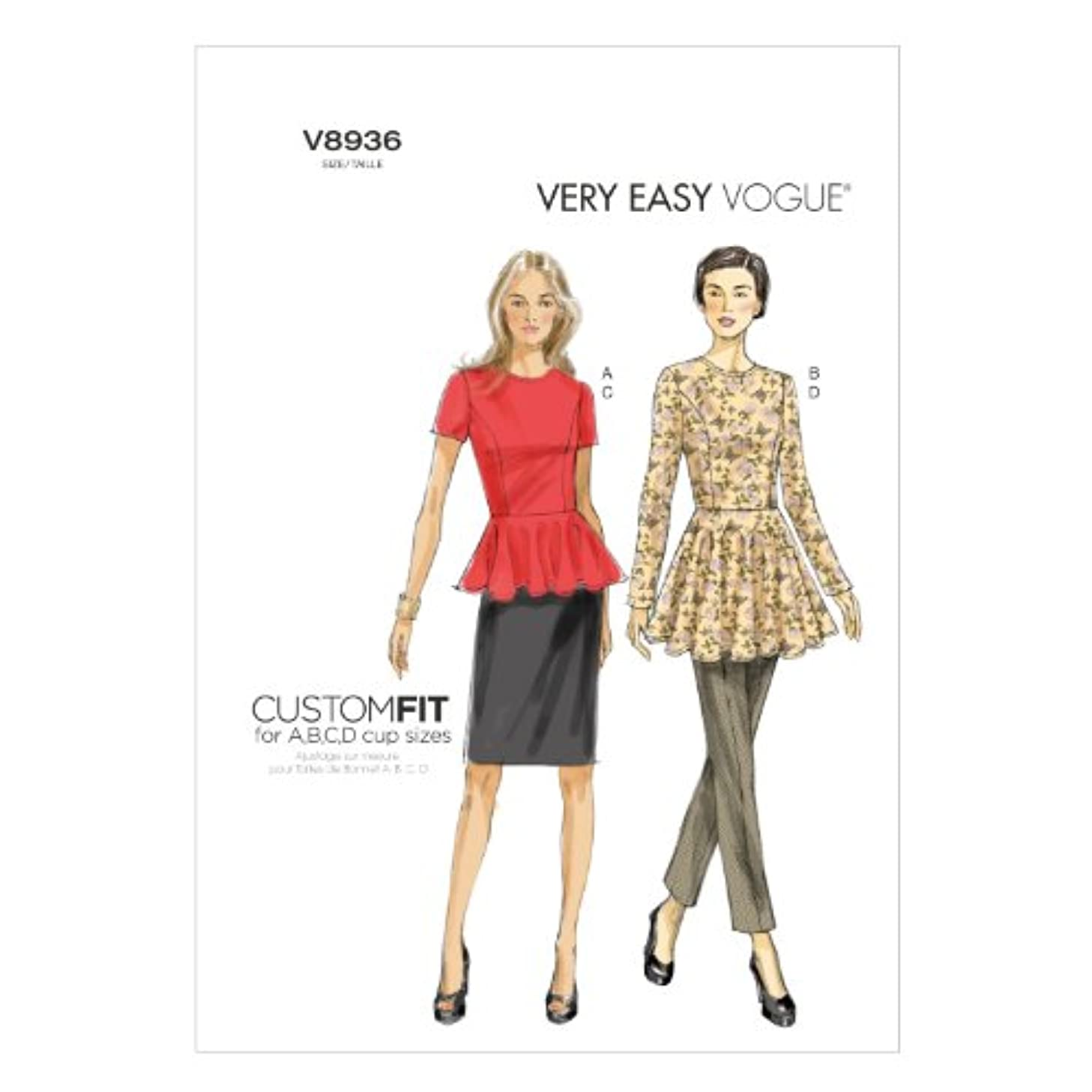 Vogue Patterns V8936 Misses' Tunic, Skirt and Pants Sewing Templates, Size A5 (6-8-10-12-14)