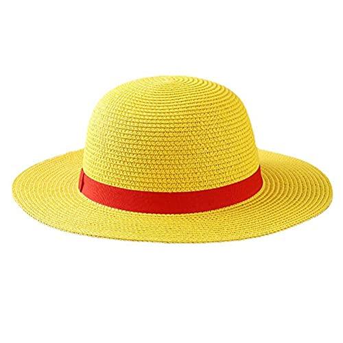 Tumnea Sombrero de Paja de una Pieza Luffy Anime Manga Disfraz de Cosplay Sombrero de Paja Sombrero de Paja Multifuncional Sombrero de Sol para Adultos