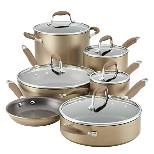 Anolon Advanced Home Hard-Anodized Nonstick 11-Piece Cookware Set, Bronze (84642)