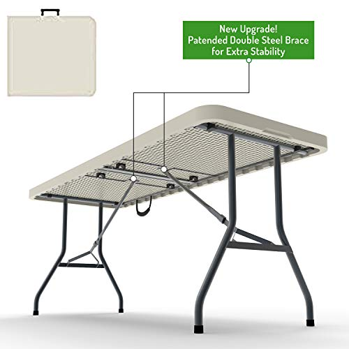 Ontario Furniture 8 Foot Plastic Folding Table - Folds in Half with a Carrying Handle – Rectangular - Lightweight and Portable - White Resin with Sturdy Steel Frame - 30'x 96'
