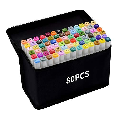 TongfuShop Marcatore 80 colori, Marker Pen Pennarello Set di Pennarello Acquerello a Doppia Punta, Pennarelli Graffiti e Art Sketch Pennarelli Adatto Principianti Creativi e Artista