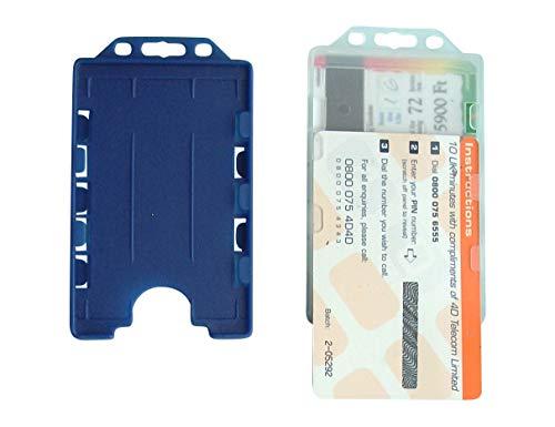 5 x Tarjetero de plástico duro, para 2 tarjetas en formato vertical, abierto, color azul