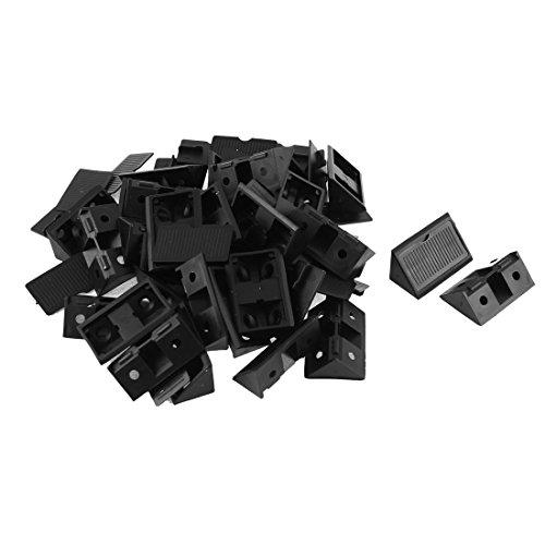 sourcingmap Estante del gabinete de plástico de 90 grados esquina escuadras 30pcs soportes negros