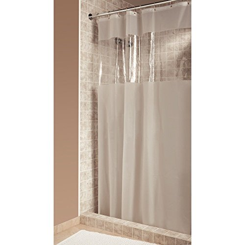 iDesign Hitchcock EVA Plastic Shower Liner Mold and Mildew Resistant for use Alone or With Fabric Curtain for Master, Guest, Kid's Bathroom, 54 x 78 Inches, Frost and Clear