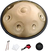YuELinG Handpan Drum, Hand steel drum in D minor 9 notes 432hertz with Soft Handpan csae, Handpan Stand, Handpan mallets and dust-free cloth (Golden)
