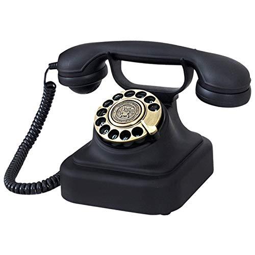 GERUOLA Retro Vintage Telefon,Metall Antike Festnetz Telefon,Europäisches Nostalgie Cable Telefon,Wählscheibe Klassisches Telefon,Wahlwiederholung,Lautstärkeregelung,Einstellbare Doppelklingeltöne