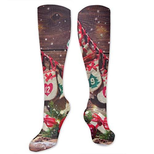 Socks for Women & Men 1 Pairs is Best Graduated Athletic,Running,Flight,Travel,Nurses,Christmas Background. Advent Calendar And Santa's Shoe,19.68 inch