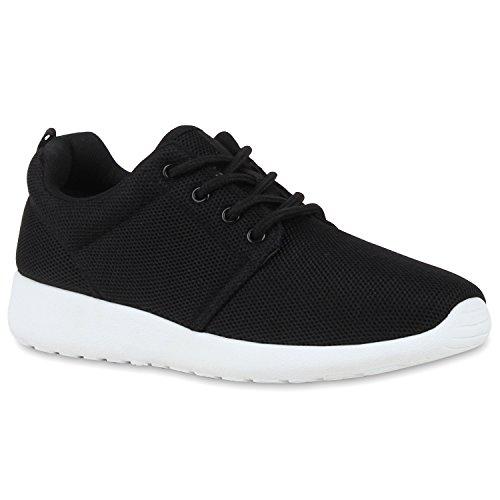 stiefelparadies Damen Sport Übergrößen Trendfarben Runners Sneakers Lauf Fitness Prints Schuhe 106559 Schwarz 38 Flandell
