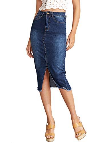 SheIn Women's Elegant Slit Hem Frayed Trim Stretchy Cotton Denim Skirt Blue