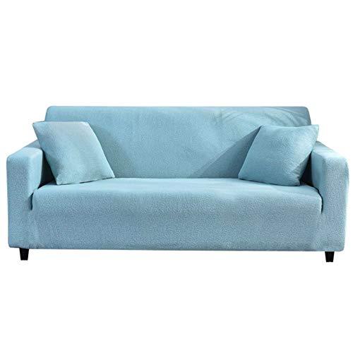 HALOUK Funda Elástica para Sofá Love Seat,Funda de Sofá de 1/2/3/4 Plaza Impermeable 1 Pieza Lavable Antideslizante Protector de Muebles para Sala de Estar-Azul Claro-4 Plaza (235-300cm)