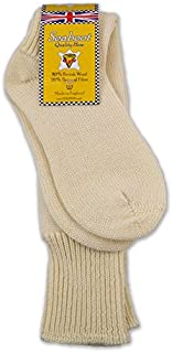 Mens 80% Aran Wool Extra Long Fisherman & Angling Seaboot Socks in Cream Ecru or Black 6-8, 8-10, 10-12
