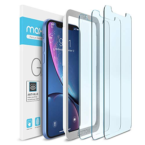 """Maxboost (3 Pack) Screen Protector with Anti-Blue Compatible Apple iPhone 11 and iPhone XR (6.1"""") [Blue Light Filtering + Eye Protection Tempered Glass] Advance HD Clarity Work with Most"""