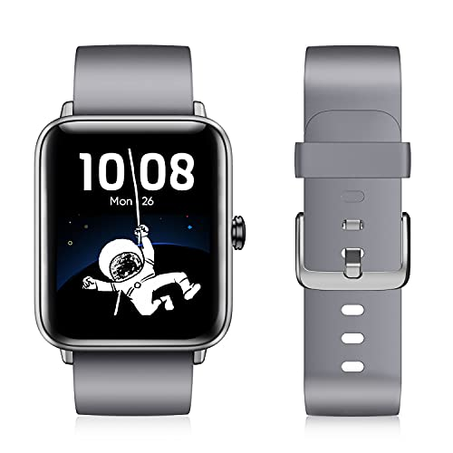 Smartwatch, Damen Herren Smart Watch mit Blutsauerstoff, 1.55'' Übergroß Farbdisplay, Fitness Armband mit Pulsmesser, Wasserdicht IP68, Schrittzähler Schlafmonitor, GPS Fitness Uhr für Android iOS