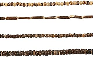 Coconut Beads, 3-5 mm, nature harmony, 4x40 cm