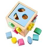 Babe Rock Steckwürfel aus Holz Würfel-Puzzle Spielzeug für Kinder Baby (Blau)