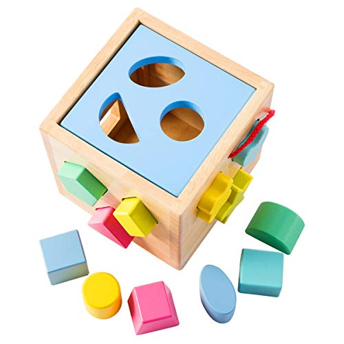 Babe Rock Shape Sorter Toddler Toy Classic Wooden Toy for Baby Boys & Girls Learning Educational Color Sorting Cube Toys for Kids