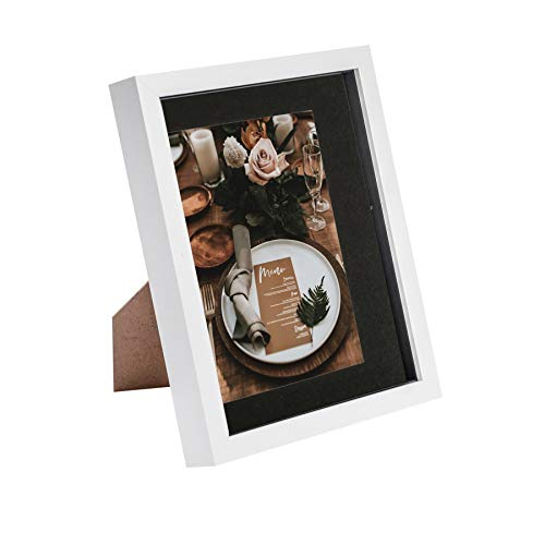 Nicola Spring 8 x 10 3D Shadow Box Photo Frame - Craft Display Picture Frame with 5 x 7 Mount - Glass Aperture - White/Black