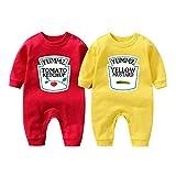 YSCULBUTOL Body de bebé Yummz Tomate Ketchup Mostaza Rojo Amarillo Gemelos Conjunto Niños Niñas Ropa Twins Bebé Trajes - - 9-12 meses