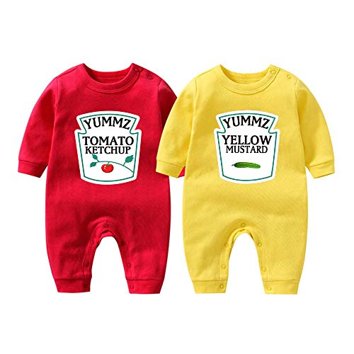 YSCULBUTOL Baby Bodysuit Yummz Tomato Ketchup Mustard Red Yellow Twins Set Boys Girls Clothes Twins Baby Outfits (KM-S3M Twins)