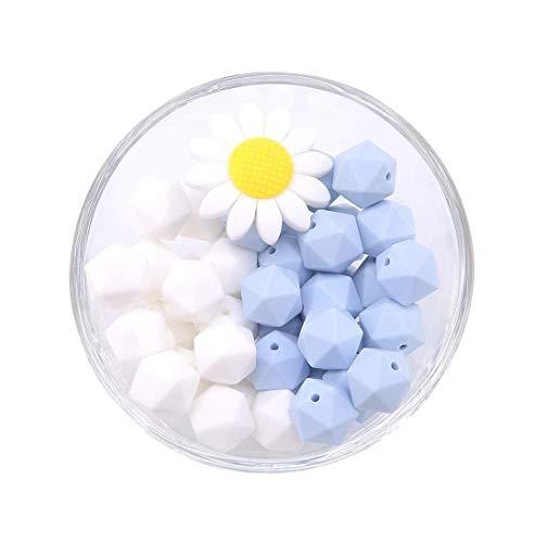 Mamimami Home Azul Blanco Perlas De Dentición De Silicona Flor Del Sol 40pc 14mm Bolas De Dentición Hexagonales 100% Joyería De Enfermería De Grado Alimenticio Perlas De Masticación