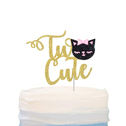 Two Cute With Kitty Cat Cake Topper for Two Years Old,2Month,Cartoon Animal Happy Birthday Cake Decor,Happy 2nd Second Birthday Party Decorations
