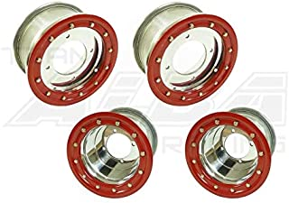 TRX 450R TRX 400EX Beadlock Set of 4 Wheels Rims - Compatible with Honda - Rear 9x8 Front 10x5 3+2 Polished/Red