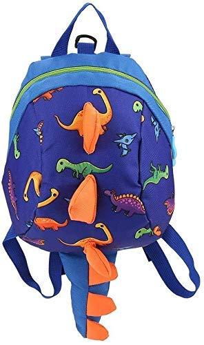 JIANGAA Dinosaur Backpacks Toddler Boys Girls Kids Dinosaur Backpack, Cartoon Safely AntiLost Strap Rucksack with Reins (Color : Navy Blue)