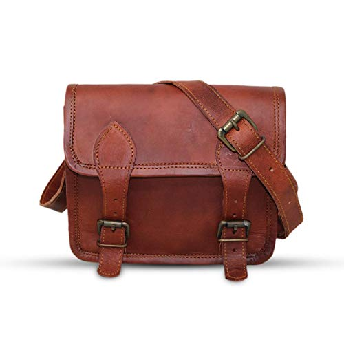 9' small Leather messenger bag shoulder bag cross body vintage messenger bag for women & men satchel man purse compatible with Ipad and tablet Brown