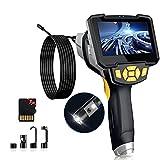 1080P Cámara Endoscopio Doble Lente,HD Cámara de Inspección Industrial 8mm Endoscopio de Tubería Impermeable IP67 con 4,3 Pulgadas Pantalla IPS,6 Luces LED,5m Cable Semi-rígido y Tarjeta TF de 32G