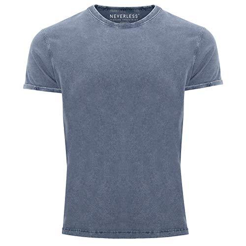 Neverless® Herren T-Shirt Vintage Shirt Printshirt Basic ohne Aufdruck Used Look Slim Fit blau L