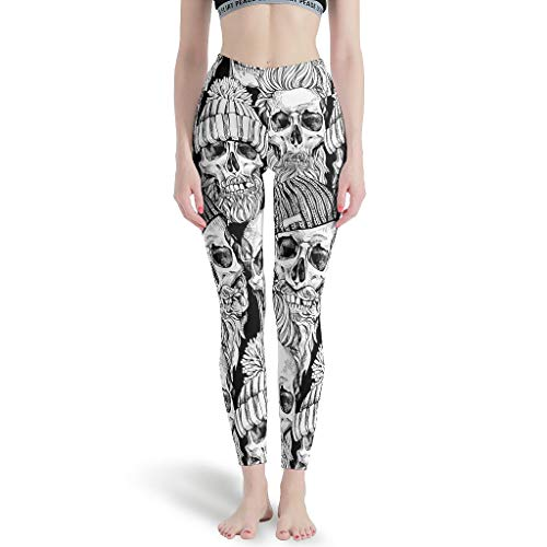 Dogedou Joggen Yoga Pant Mädchen Skull Fitnesshose für Stretch White XL