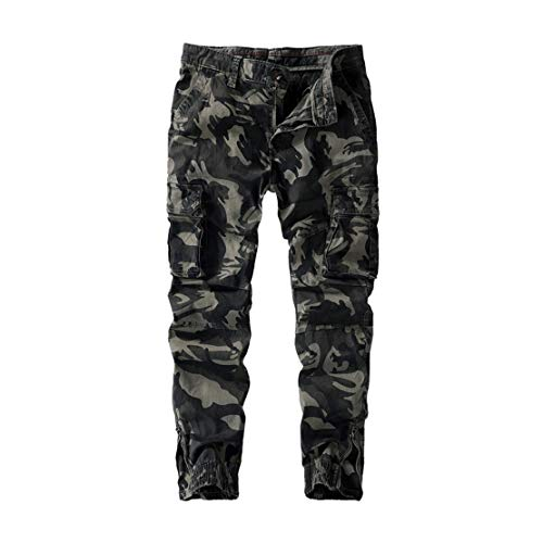 utcoco Mens Casual Slim Fit Washed Camouflage Military Capri Jogger Pants (34, Light Grey)