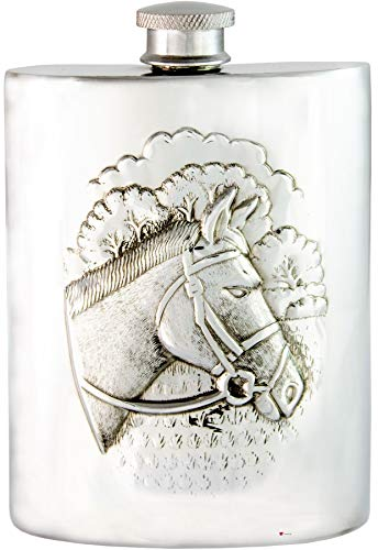 Racing Horse Hip Flask 6oz Kidney Shape Pewter Ideal Gift Engravable on Space