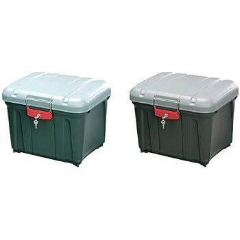 『 ボックス RVBOX 密閉 カギ付 460 グレー/ダークグリーン 幅45.5×奥行36.1×高さ35.1cm』と『 ボックス RVBOX 密閉 カギ付 460 グレー/ダークグレー 幅45.5×奥行36.1×高さ35.1cm』のセット