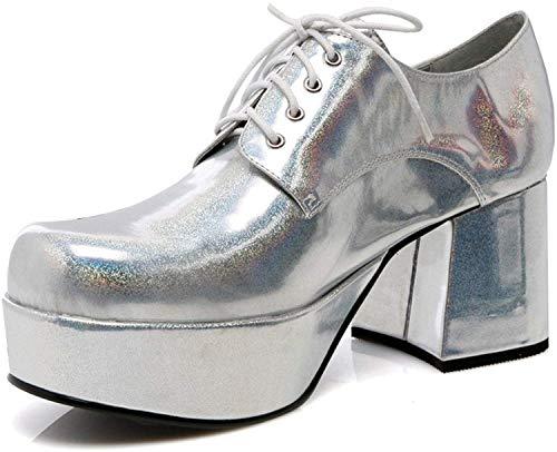 "Mens Silver Platform 3"" Heel Halloween Shoes Small 8-9"