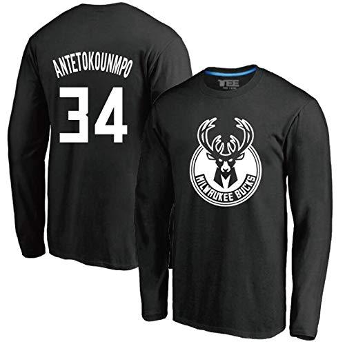 MMADD Bucks de No. 34 Giannis Antetokounmpo Jersey, Cuello Redondo de Manga Larga Camiseta,Negro,L