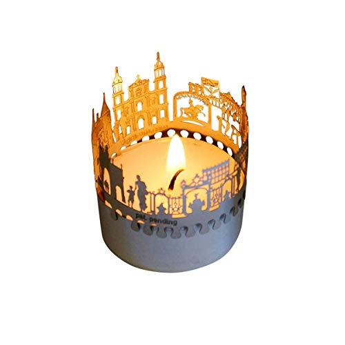 13gramm Nancy-Skyline Windlicht Schattenspiel Souvenir, 3D Edelstahl Aufsatz für Kerze inkl. Karte