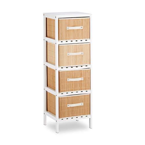 Relaxdays Badregal weiß mit Aufbewahrungsboxen, als Küchenregal, Ablage für Wohnzimmer, HxBxT: 104,5 x 35,5 x 30,5 cm