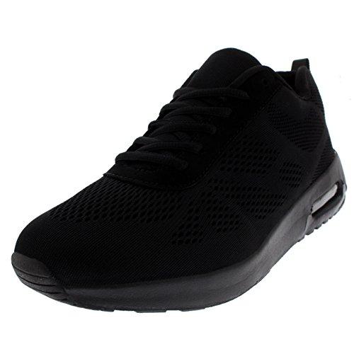 Get Fit Mens Cushioned Air Bubble Lightweight Running Walking Trainers - Black/Memory Foam - UK10/EU44 - BS0405