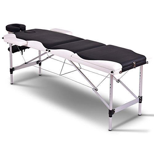 """Giantex Spa Beds Massage Tables 84""""L 3 Section Portable Salon Massaging Table Wood Aluminum Frame Home Beauty Equipment Face Cradle Armrests 7 Adjustable Height Facial Tattoo Bed w/Carry Case (Black)"""