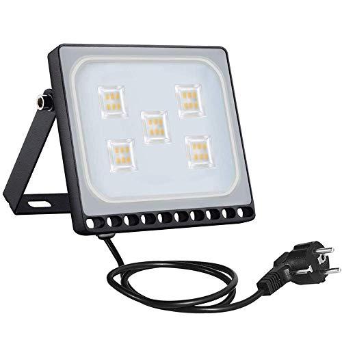 Sararoom 30W Proyector LED exteriores,IP65 Impermeable Floodlight,Foco Proyector LED Ultra Plano con enchufe,3000LM,Blanco cálido,3200K,para jardín,fábrica,estadio