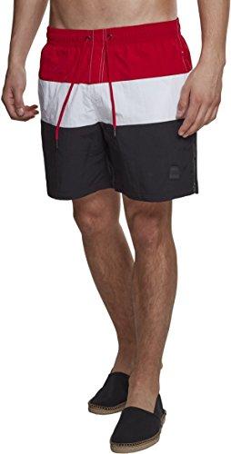 Urban Classics Color Block Swimshorts Camiseta de natación, Multicolor (Blk/Firered/Wht 01322), XL para Hombre