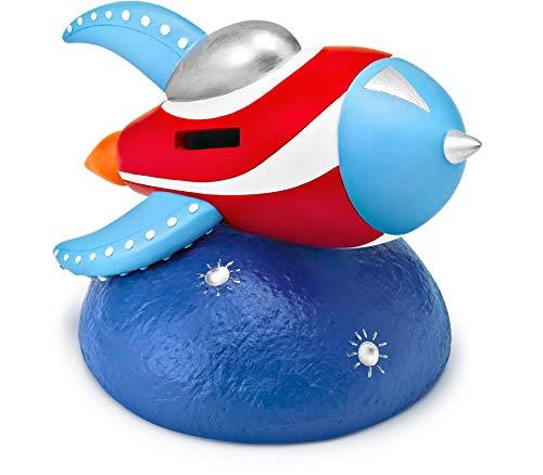 Mousehouse Gifts - Kinder Spardose - Mondrakete - Spardose für Mädchen und Jungen - Rot, Weiß & Blau - 12 x 16 x 12 cm