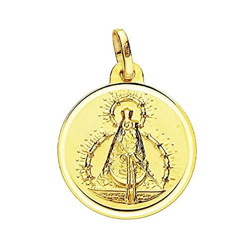 Medalla Oro 18K Virgen De La Cabeza 18mm. Lisa Bisel [Aa2582Gr] - Personalizable - Grabación Incluida En El Precio