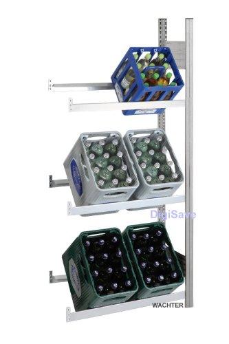 Getränkeregale Lichtgrau mit 3 Ebenen für min. 6 Kästen (Anbauregal)