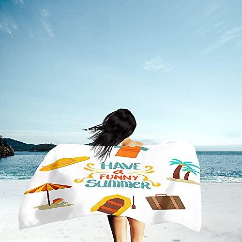 Toalla de Playa Grande Rectángulo, Chickwin Microfibra Absorbente Compacto Resistente Manta de Verano Toalla de Deportes para Piscina Playa Viaje Camping (sombrilla de Playa,80x160cm)