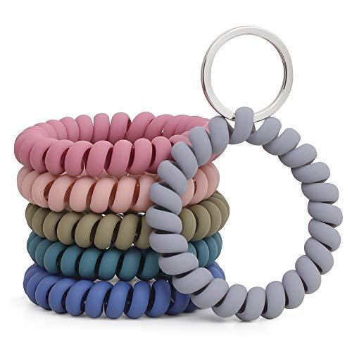 LGEGE 6PCS Stretchable Wristband Wristlet Keychain Wrist Key Chain Wristlet,Spring Flexible Spiral Wrist Coil Wrist Band Bracelet Key Holder Key Ring for Sauna Gym Pool ID Badge and Outdoor Sports